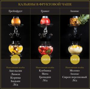 Кальяны на фруктовых чащах в жуковском - Сова